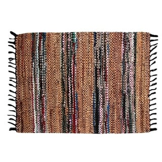 Hand-woven Broadway Collection Tan Leather Rug (8' x 10')