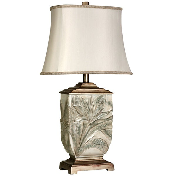Copper Grove Berce Leaf-embossed Brasstone Table Lamp