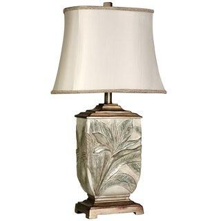 Copper Grove Berce Leaf-embossed Brasstone Table Lamp