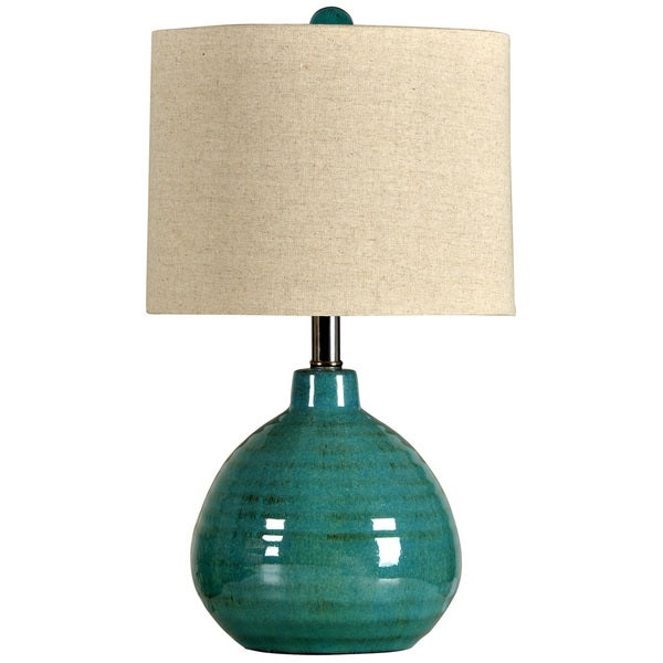 StyleCraft Turquoise Ceramic Accent Table Lamp