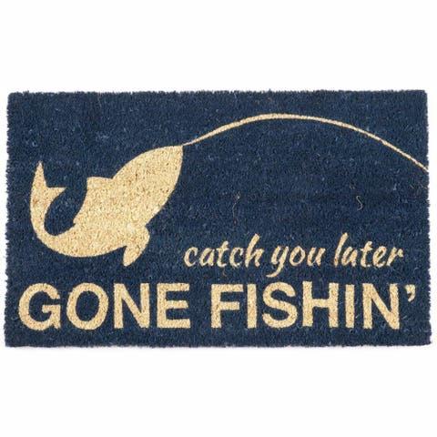 """Gone Fishin' Non-slip Coir Doormat (17"""" x 28"""")"""
