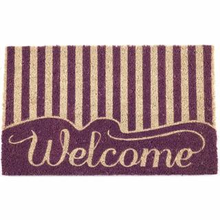 "Striped Welcome Non-slip Coir Doormat (17"" x 28"")"