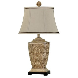 Traditional Carved Floral Table Lamp