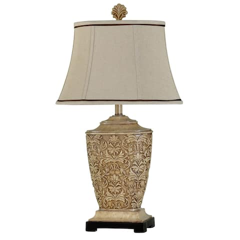 Gracewood Hollow Ingpen Traditional Carved Floral Table Lamp