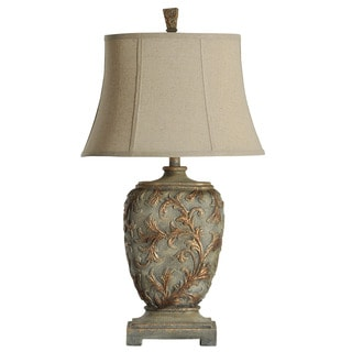 Carved Floral Traditional Gold Table Lamp