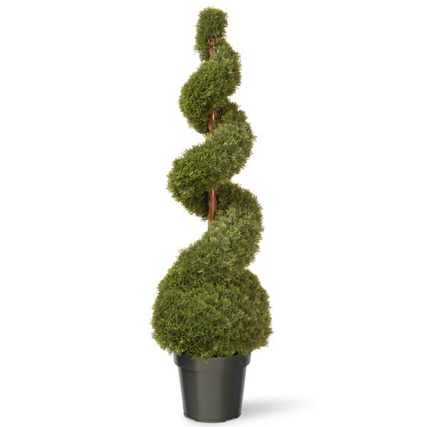 48-inch Cedar Spiral with Ball in Green Pot