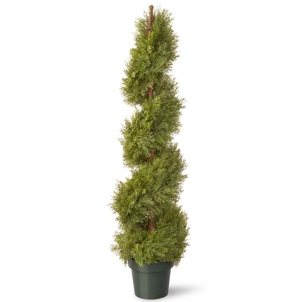 48-inch Juniper Slim Spiral with Green Pot
