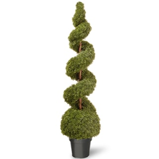 60-inch Cedar Spiral with Ball in Green Pot