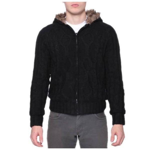 Mens Warm Faux Fur Zip Cable Cardigan Hoodie   16928598