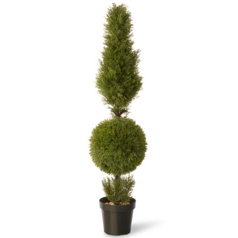 60-inch Juniper cone and Ball with Green Pot
