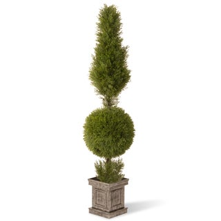 60-inch Jiniper Cone and Ball Topiary with Square Pot