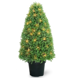 36-inch Boxwood Tree with Dark Green Growers Pot with 70 Clear Lights