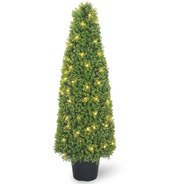 48-inch Boxwood Tree with Dark Green Growers Pot with 100 Clear Lights