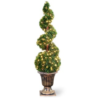 54-inch Cedar Spiral Tree with Ball in a Black and Gold Urn with 150 Clear Lights