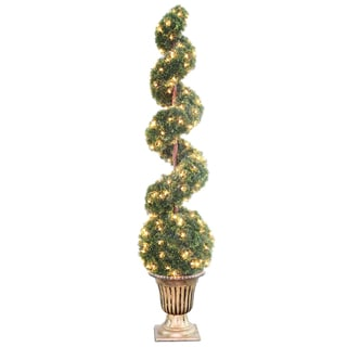 66-inch Clear Spiral Tree with Ball in a Black and Gold Urn with 200 Clear Lights