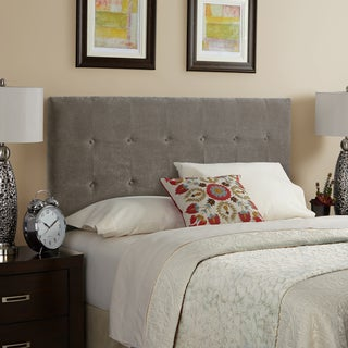 Humble + Haute Stratton Velvet Light Grey Queen Size Tufted Upholstered Headboard