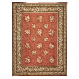 Oriental Flat Weave Needlepoint Architectural Design Wool Area Rug (9' x 12'1)