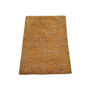Area Embossed Raised Modern Hand-knotted Wool and Silk Area Rug (2' x 3')