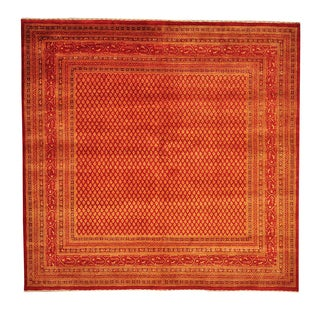 Square Sarouk Mir Orange Hand-knotted Wool and Silk Area Rug (6'6 x 6'8)