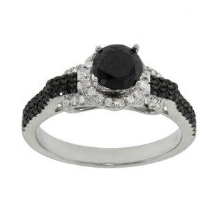 10k White Gold 0.95ct TDW Black and White Diamond Engagement Ring (G-H, I2-I3)