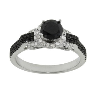 10k White Gold 0 95ct TDW Black And White Diamond Engagement Ring
