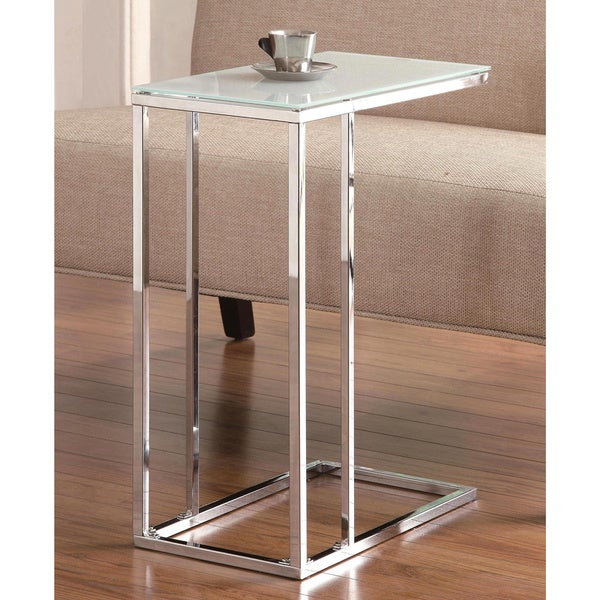 Sleek Design Snack Table with Frosted Tempered Glass Top. Opens flyout.