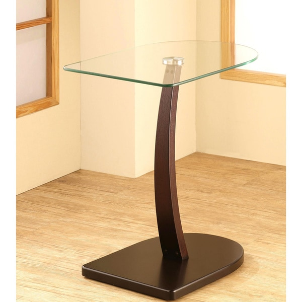shop semi oval shaped wood and glass accent table free shipping today overstock 9758053. Black Bedroom Furniture Sets. Home Design Ideas