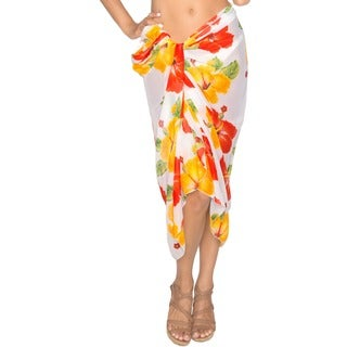 La Leela Swim Beachy Spring/Summer Dress Wrap Cover up Kimono Sarong Yellow