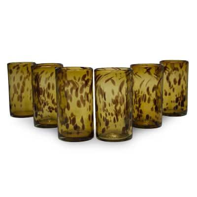 NOVICA Handmade Glass Tall Tortoise Shell Drinking Glasses (Set of 6) (Mexico)
