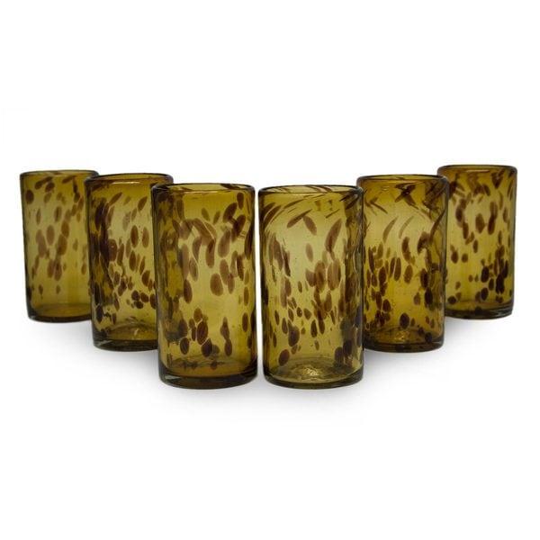 Handmade Glass Tall Tortoise Shell Drinking Glasses (Set of 6) (Mexico)