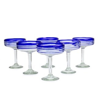 Set of 6 Handcrafted 'Cobalt Spirals' Margarita Glasses (Mexico)