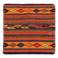 Handmade Wool Cotton 'Hills of Fire' Cushion Cover (Mexico)