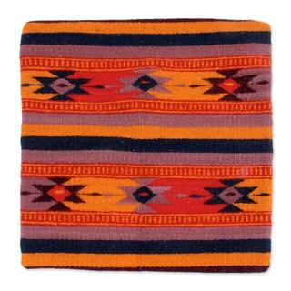 Handmade Wool Cotton 'Zapotec Stars' Cushion Cover (Mexico)