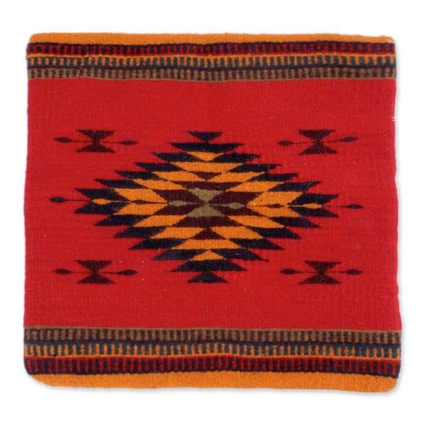 Handmade Wool 'Sun of Oaxaca' Cushion Cover (Mexico)