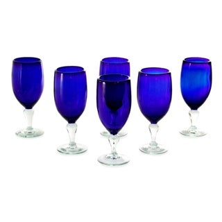 Set of 6 Handcrafted Blown Glass 'Night Sky' Goblets (Mexico)