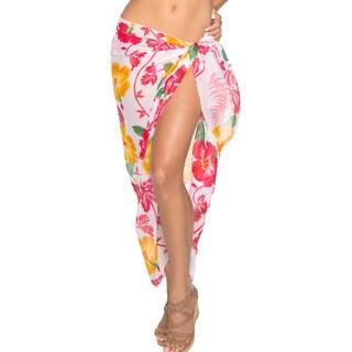 La Leela Floral Skirt Lightweight Chiffon Swim Sarong Cover up 72X42 Inch Pink