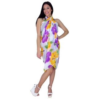 La Leela Lightweight Cover up Dress.Beach Mat.Shawl.Halterneck Dress.Toga 3 in 1 Flora
