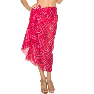 La Leela Lightweight Terivoile Beach Swim Hawaiian Sarong Cover up Skirt Pink