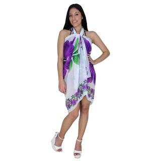 La Leela Lightweight Chiffon Sheer Swim Hawaiian Sarong Coverup 72X42 In Purple