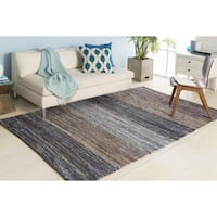 Handmade Justin Country Reversible Cotton/ Leather Area Rug - 5' x 8'