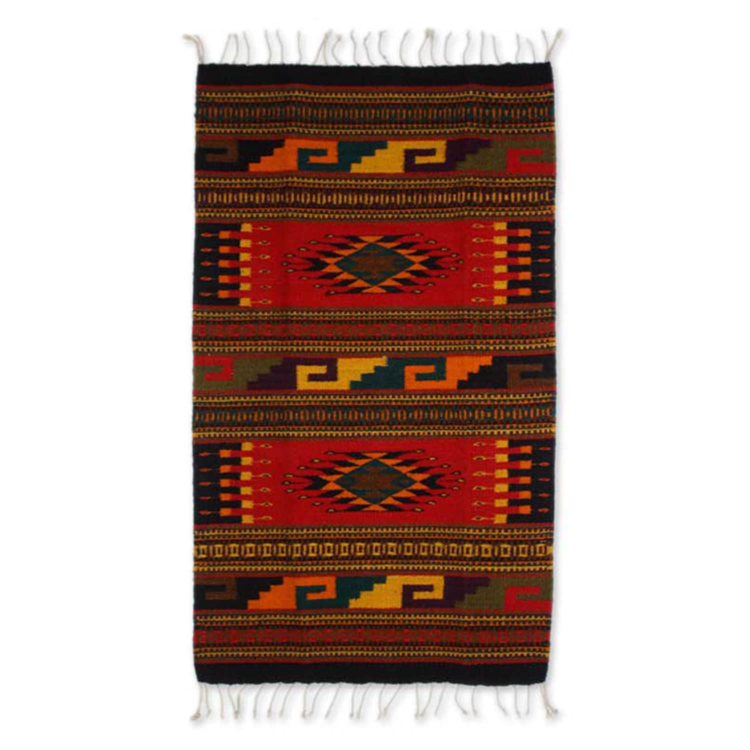 Handmade Zapotec Wool Our Traditions Rug (2x35) (Mexico) - 2x35 (Solid)