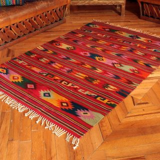 Handcrafted Southwestern Zapotec Guelaguetza Colors Area Rug (4 x 65) (Mexico)