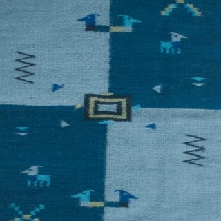 Handmade Indigo Illusions Zapotec Wool Rug 2 x 3.5 Ft (Mexico) - N/A
