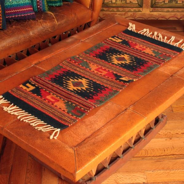 Handmade Zapotec Wool 'Two Windows' Rug (1'5x3) (Mexico