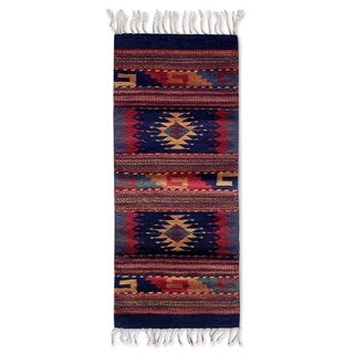 Handcrafted Zapotec Wool 'Two Windows' Rug (1'5x3) (Mexico)