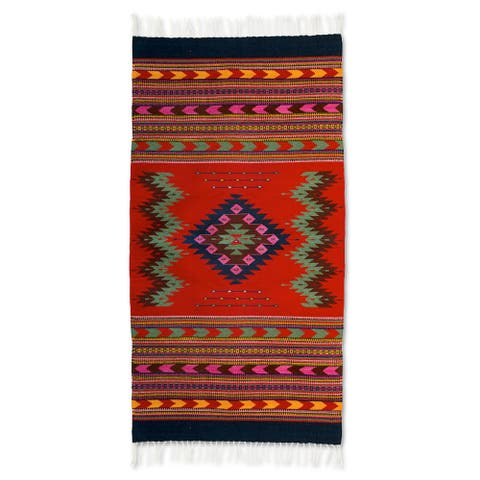 Handcrafted Wool 'Zapotec Passion' Rug (2'5x5) (Mexico) - 2'5x5