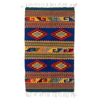 Handmade Starfish Zapotec Wool Rug 2 x 3.5 Ft (Mexico) - 2' x 3.3'