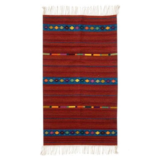 Handcrafted Zapotec Wool 'Life's Roads' Rug (2'5x5) (Mexico)