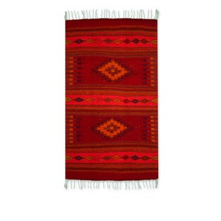 Fire of Light Red with Multicolors Geometric Pattern 100% Wool Handmade Decor Accent Traditional Mexican Zapotec Area Rug (2x3)