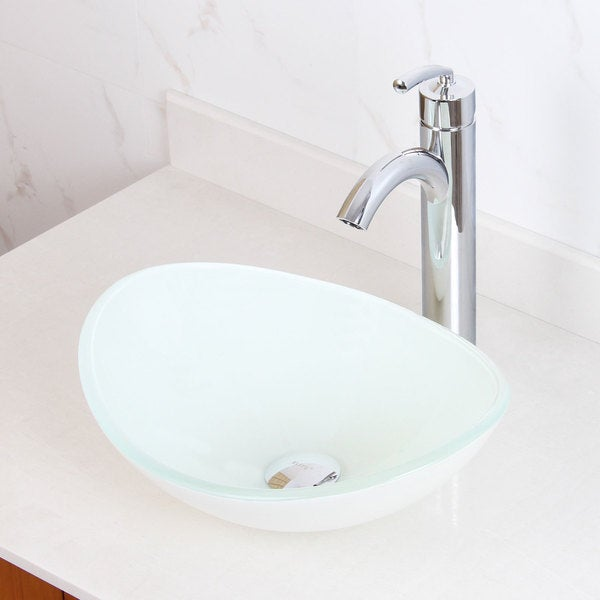 ... 1420/ 882002 Tempered Glass White Oval Bathroom Vessel Sink and Faucet